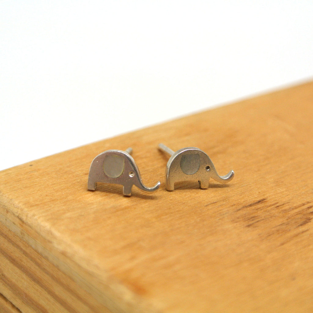 twang and pearl sterling silver studs elephants shell grey