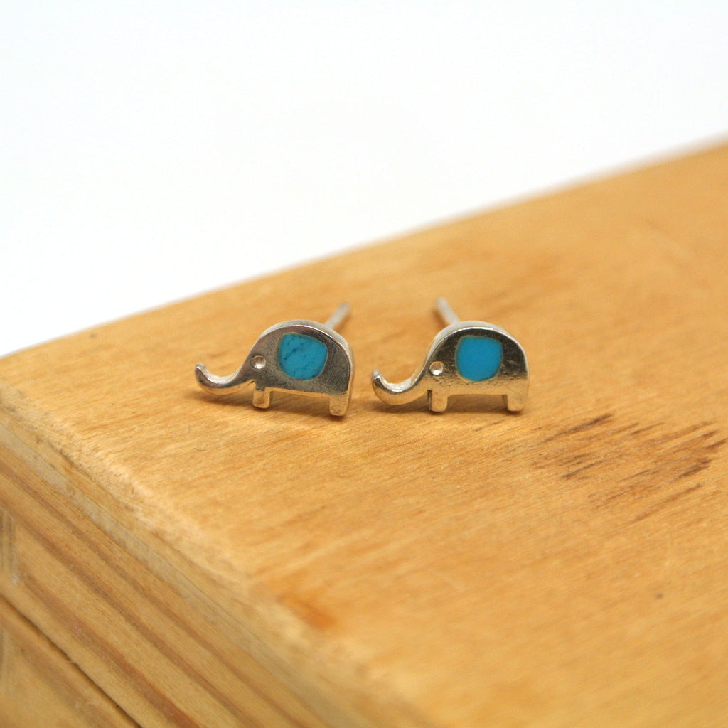 twang and pearl sterling silver studs elephants turquoise