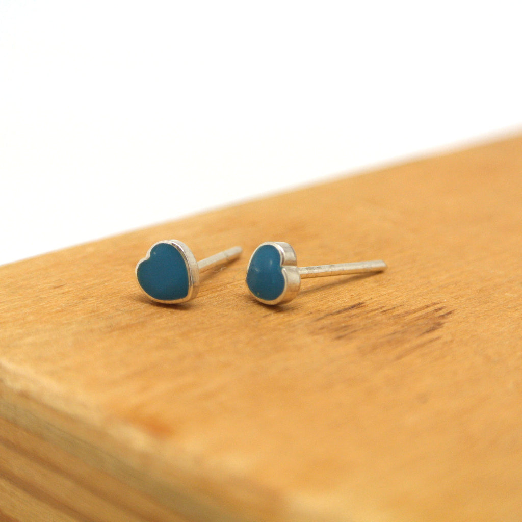 twang and pearl sterling silver studs hearts turquoise