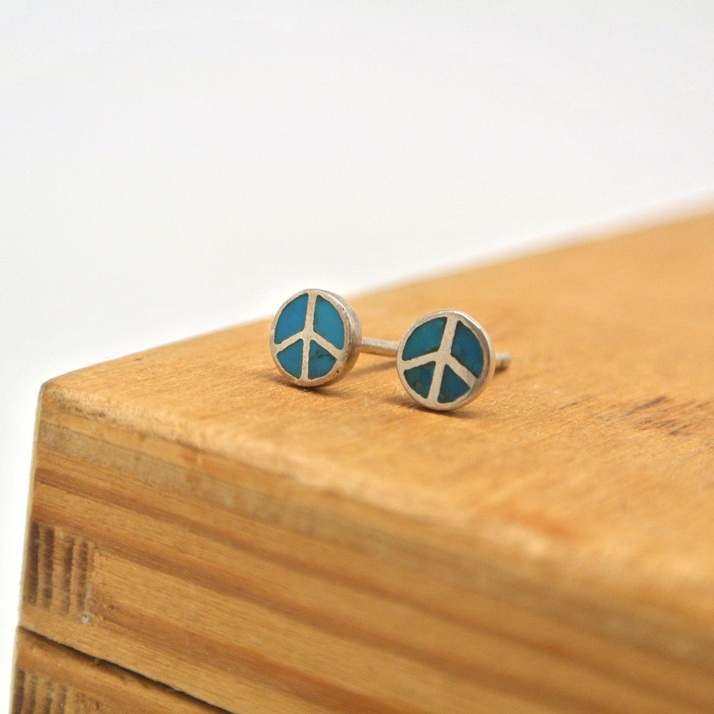 twang and pearl sterling silver studs peace turquoise