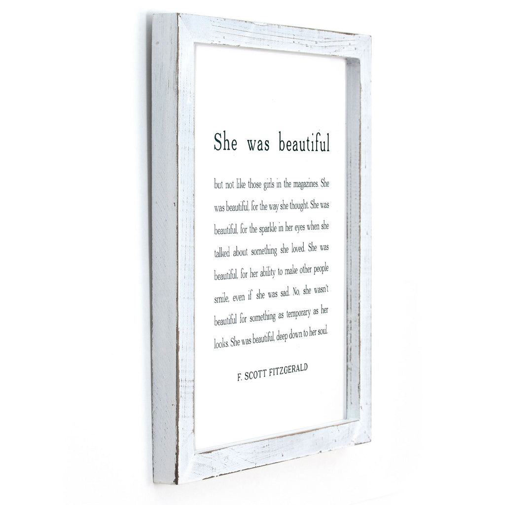 Cedar Mountain Studios - Framed Wall Art - She was Beautiful (F. Scott Fitzgerald)