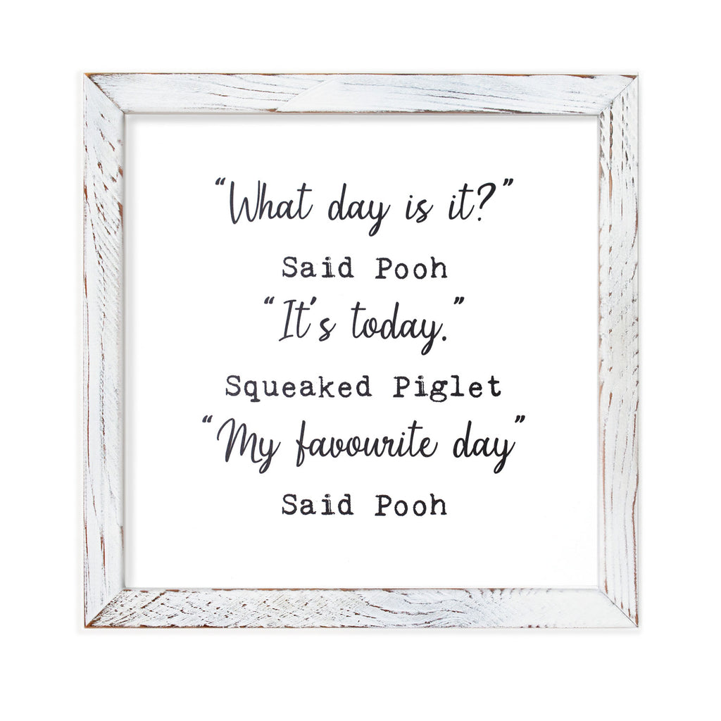 Cedar Mountain Studios - Framed Wall Art - What Day is it? (Winnie the Pooh)