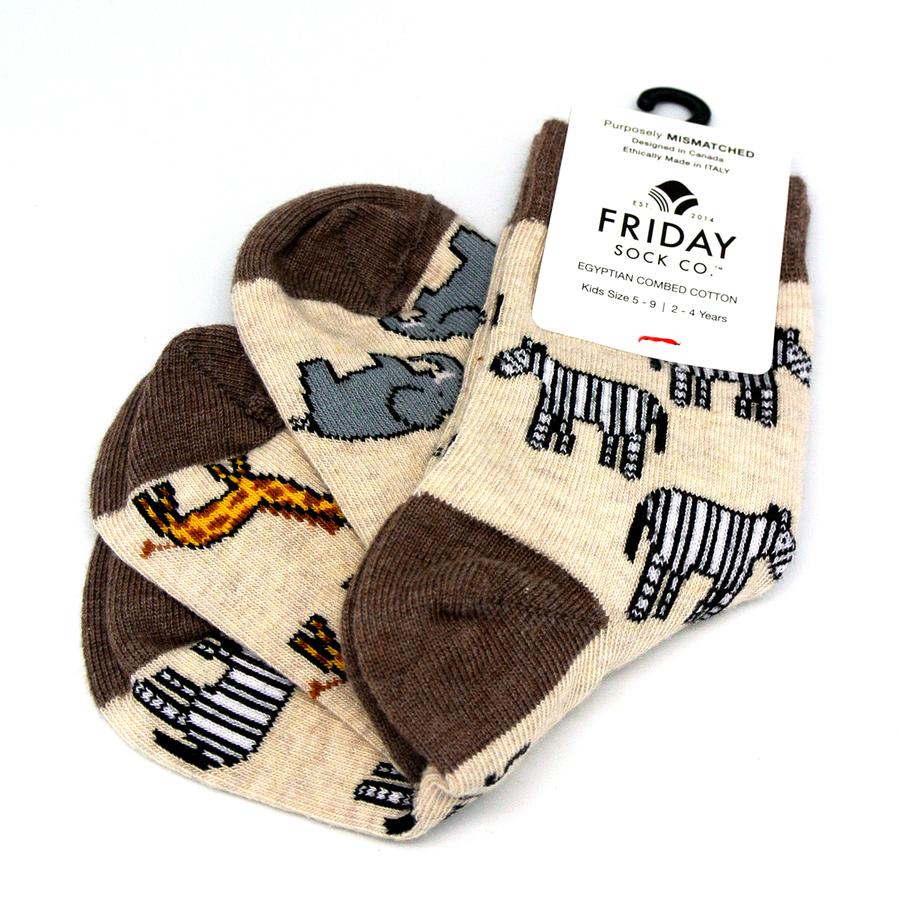 Friday Sock Co. Kids' Mismatched Safari Socks - Zebra, Giraffe, Elephant at Twang and Pearl