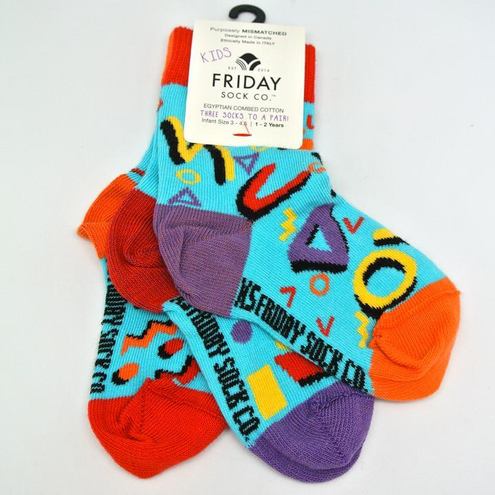 friday socks co kids mismatched socks 80s at Twang and Pearl