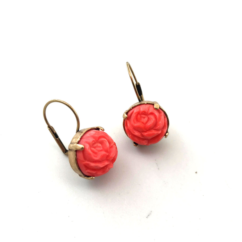 Grandmother's Buttons - Earring - Vintage Coral Rose