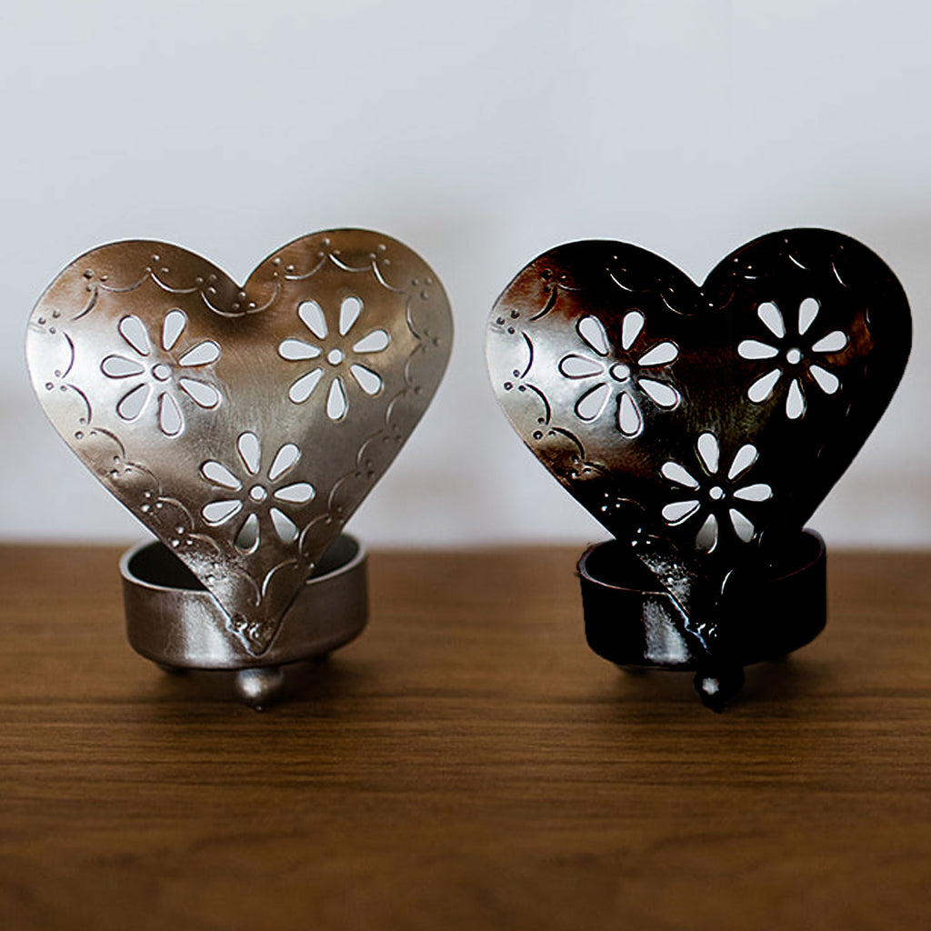 Heart Candle Holders Silver and Black