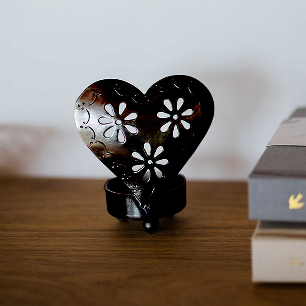 Heart Candle Holders Black