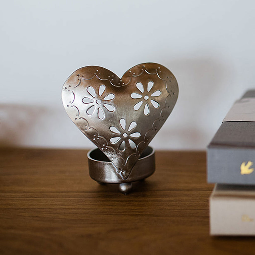 Heart Candle Holders Silver