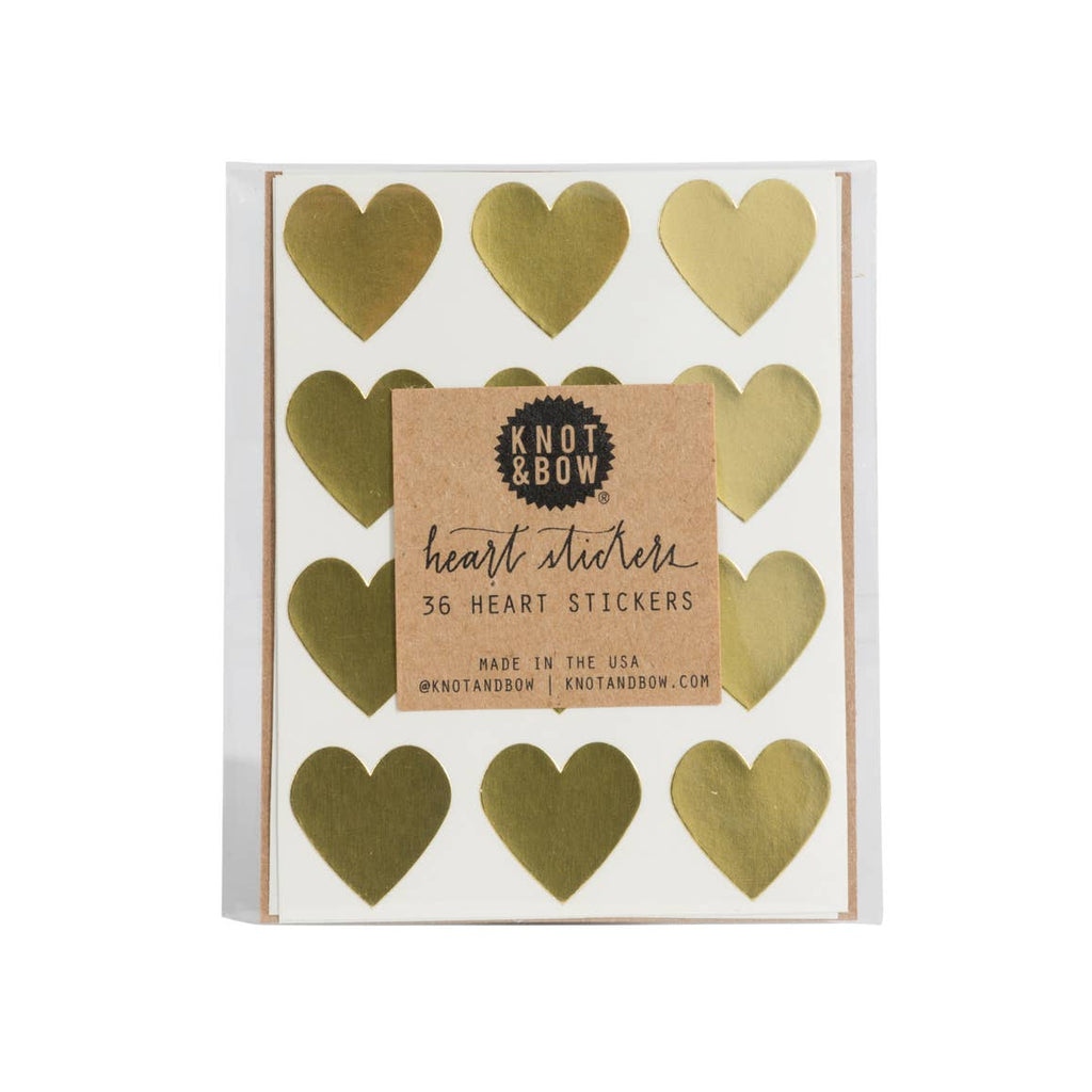 Knot and Bow Heart Stickers Gold at Twang and Pearl