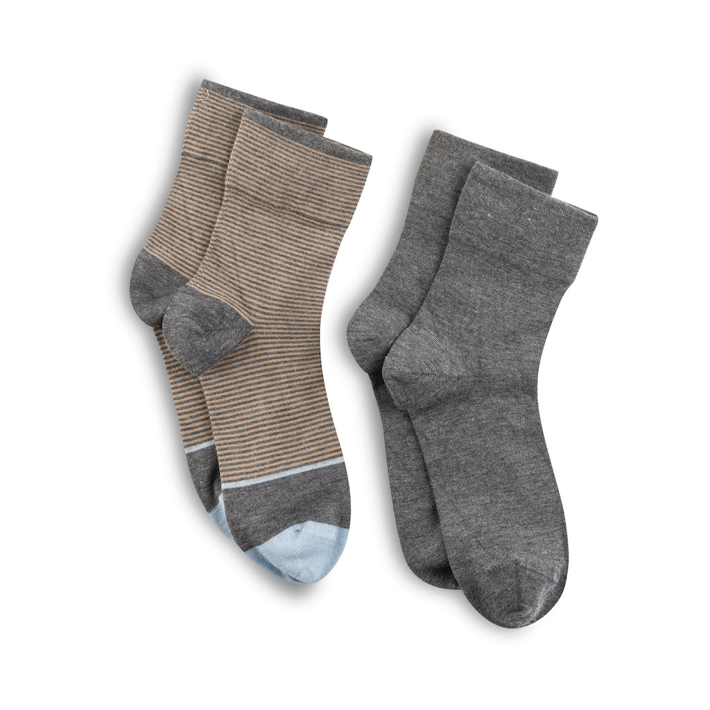 Lemon 2 Pack Women's Micropstripe Crew Socks Charcoal