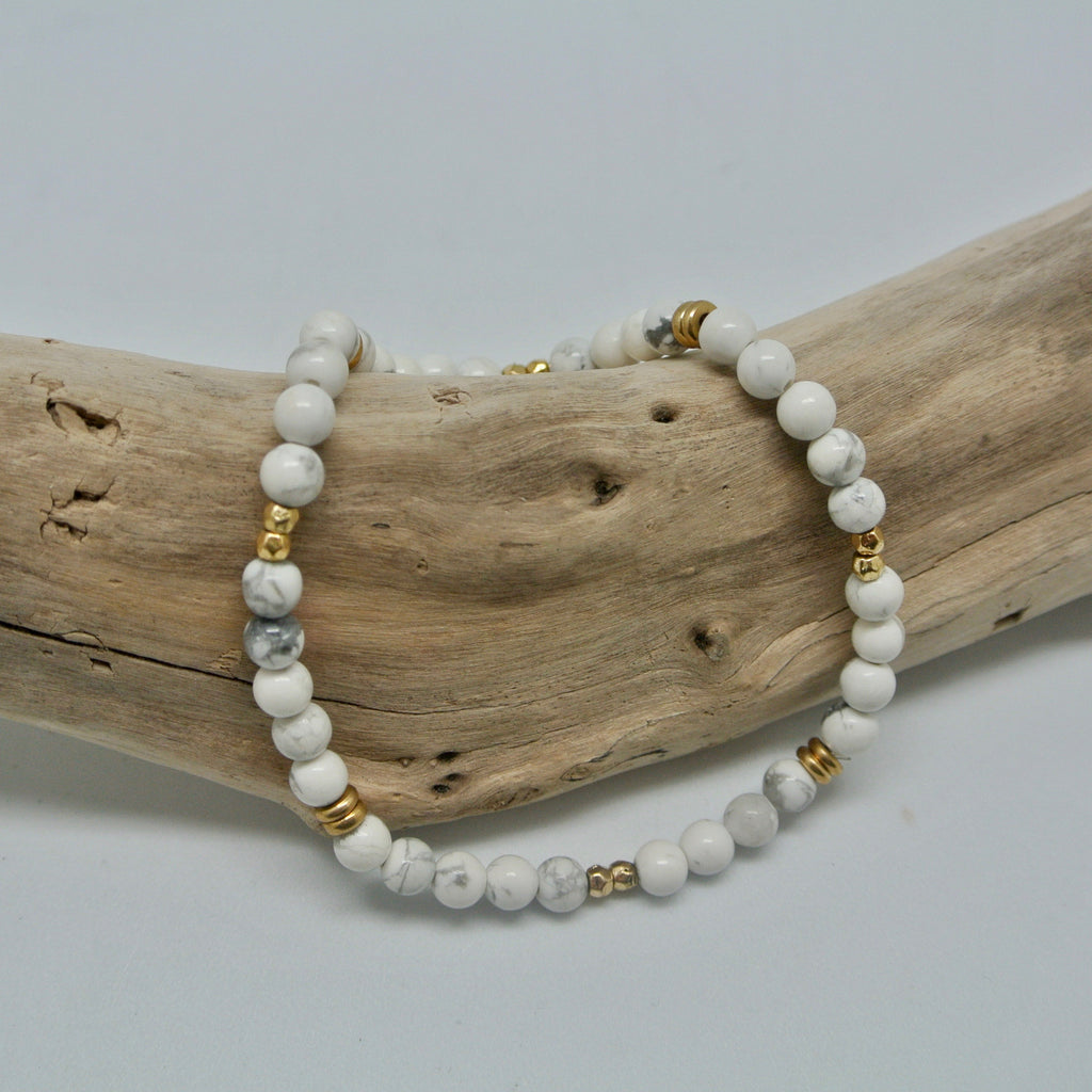 Little Gem Bracelets alabaster and gold howlite and gold at twang and pearl
