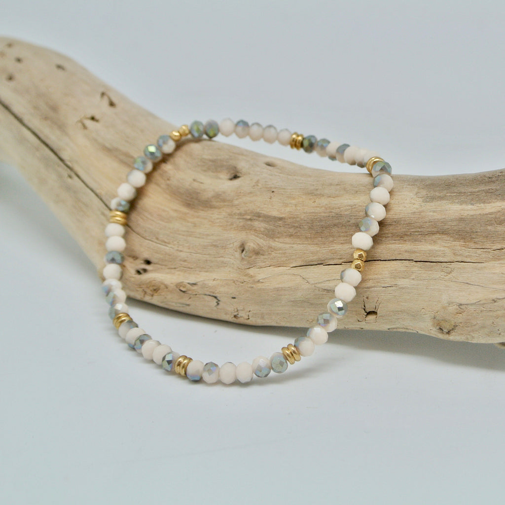Little Gem Bracelets alabaster and gold sparkle gem gold at twang and pearl