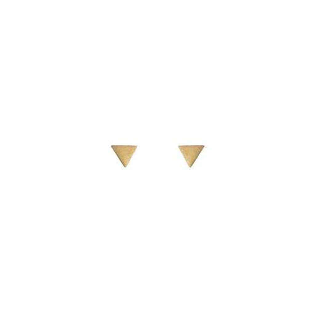 Mimi and Marge Matte Gold Triangle Studs at Twang and Pearl