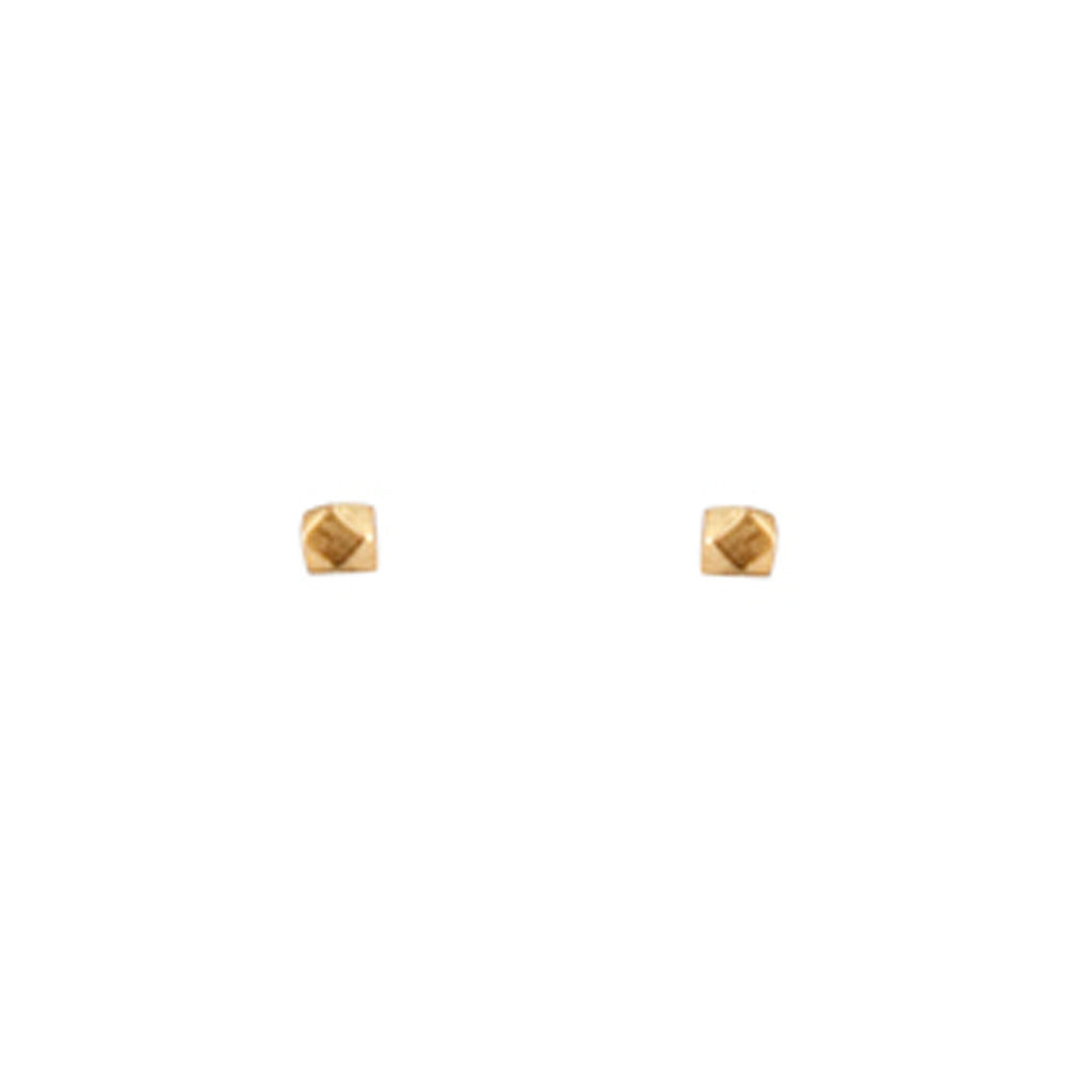 mimi + marge cube rock stud earrings gold at twang and pearl