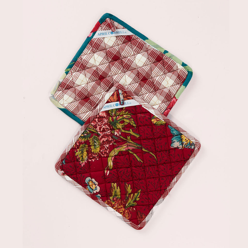 April Cornell - Cotton Potholder Set of 2 - Jewel Patchwork