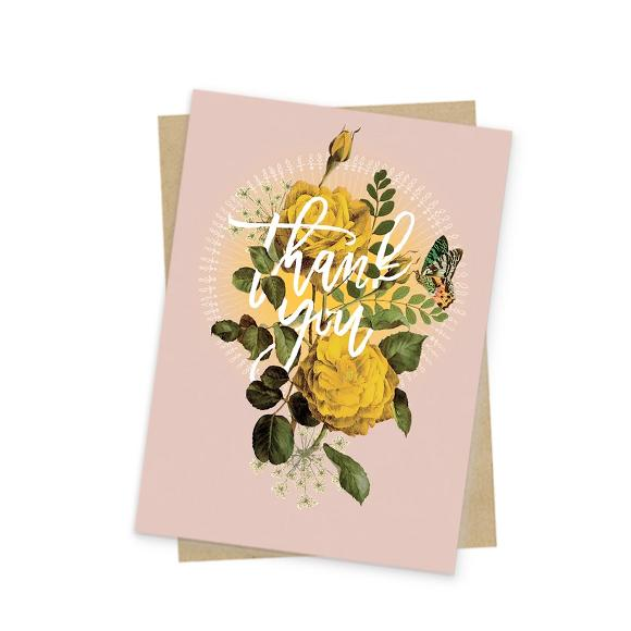 Papaya Mini Thank You Card Roses at Twang and Pearl