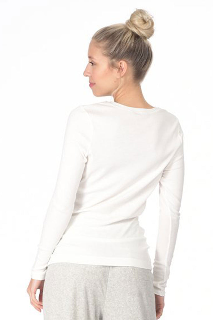 Paper Label Lisa Top | White, Long Sleeve, Designed in Canada