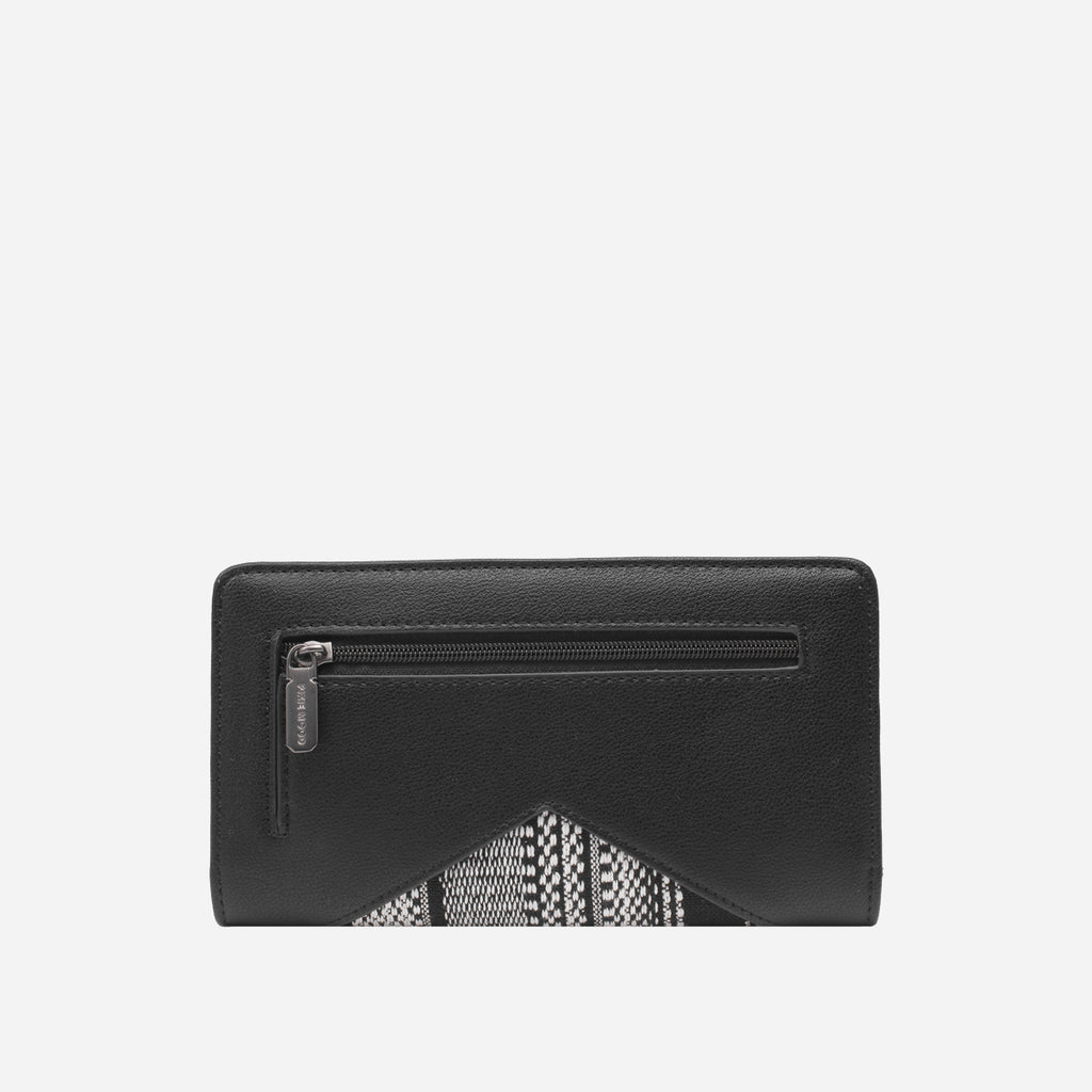 Pixie Mood Sophie Wallet Black White Woven Vegan Leather