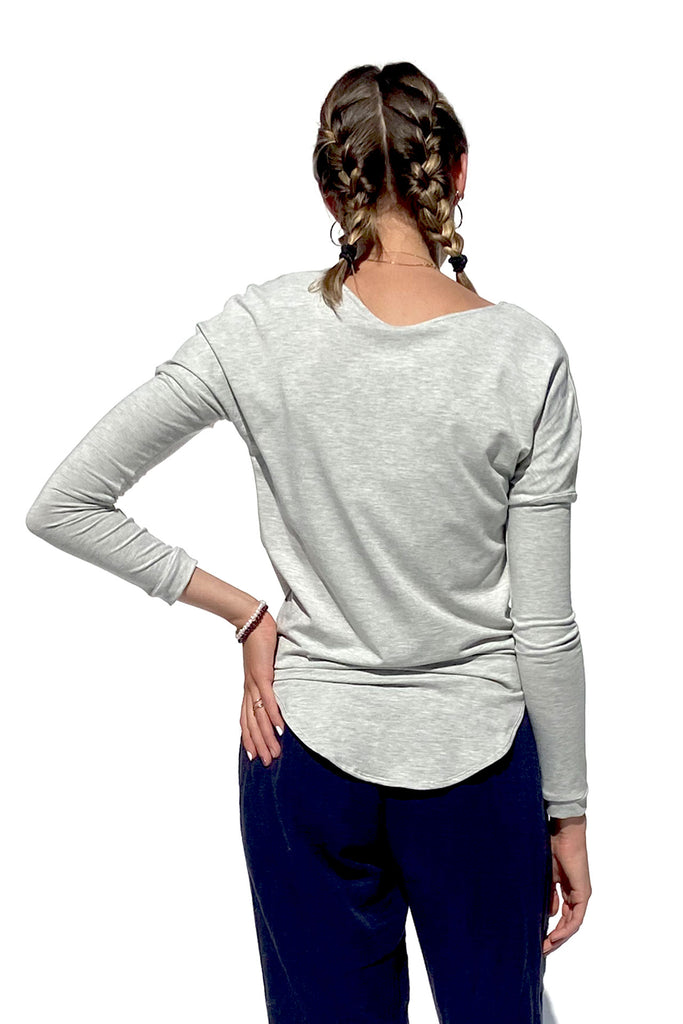 Qube Long Sleeve Top in Light Grey at Twang and Pearl