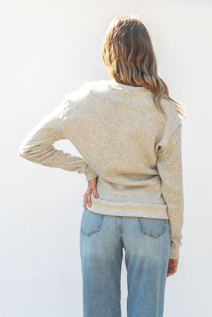 Qube Qrew Sweater | Salt & Pepper, Made on Salt Spring
