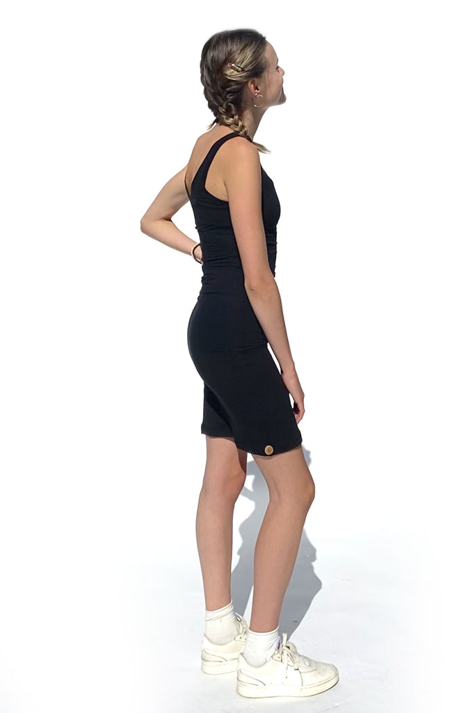 Qube Triddy Tank Dress in Black at Twang and Pearl