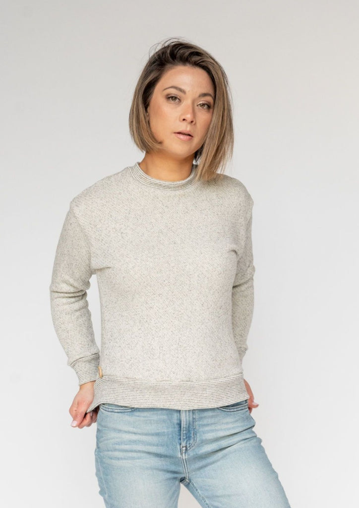 Qube Qrew Crop Sweater Salt and Pepper