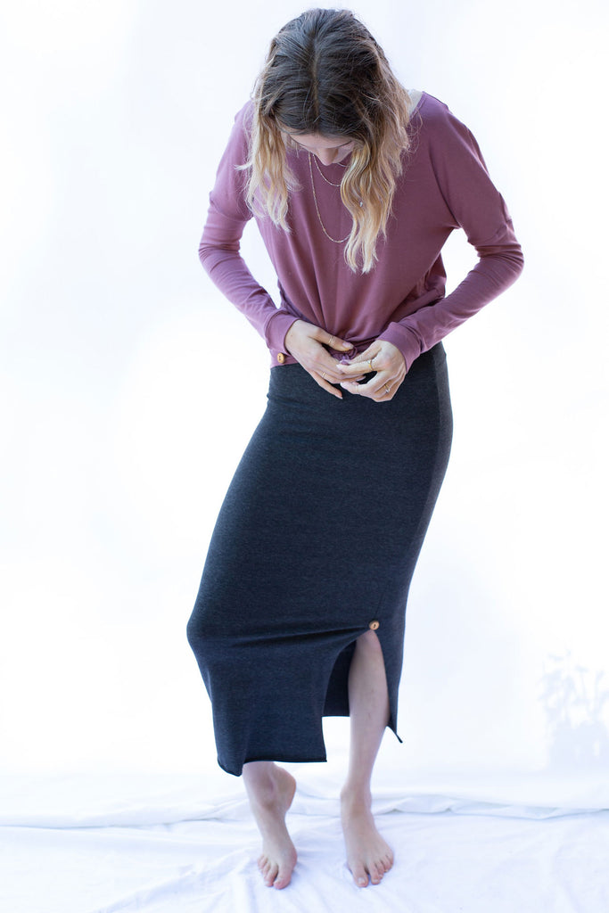 Qube Maje Maxi Skirt in Dark Mix at Twang and Pearl