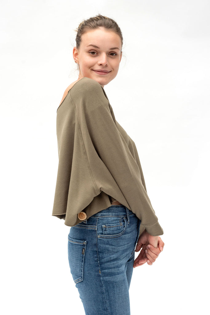 Qube Mali Crop Top in Olive at Twang and Pearl