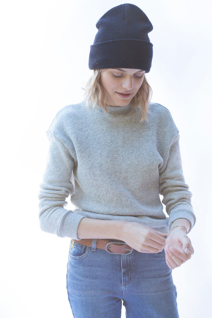 Qube Qrew Crop Sweater in Grey at Twang and Pearl
