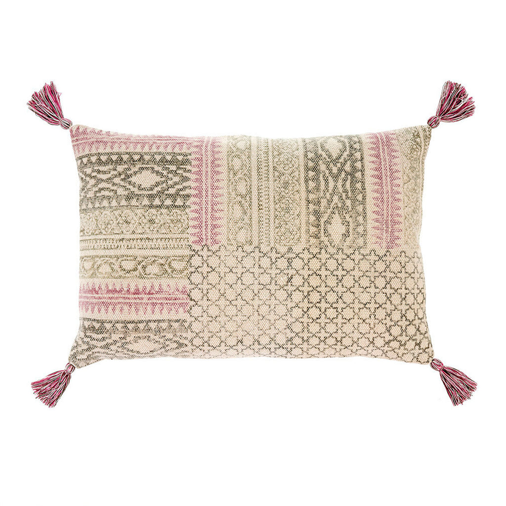 Rosa Block Print Pillow 16x24 at Twang and Pearl