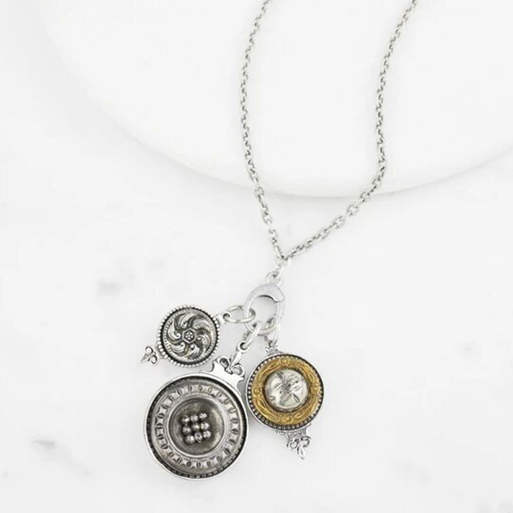 grandmother's buttons antique silver charm chain at twang and pearl