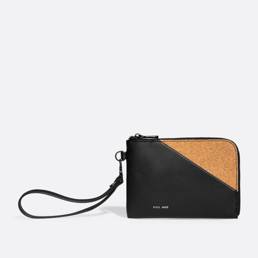 Pixie Mood Stacy Wristlet Black Cork at Twang and Pearl