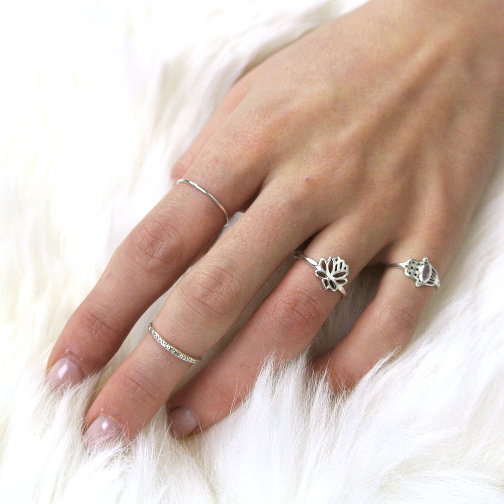 twang and pearl sterling stacking rings hammered