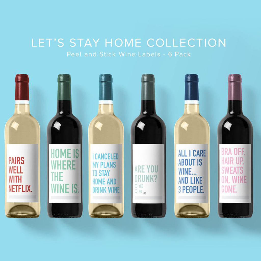 Classy Cards Wine Labels Let's Stay Home at Twang and Pearl