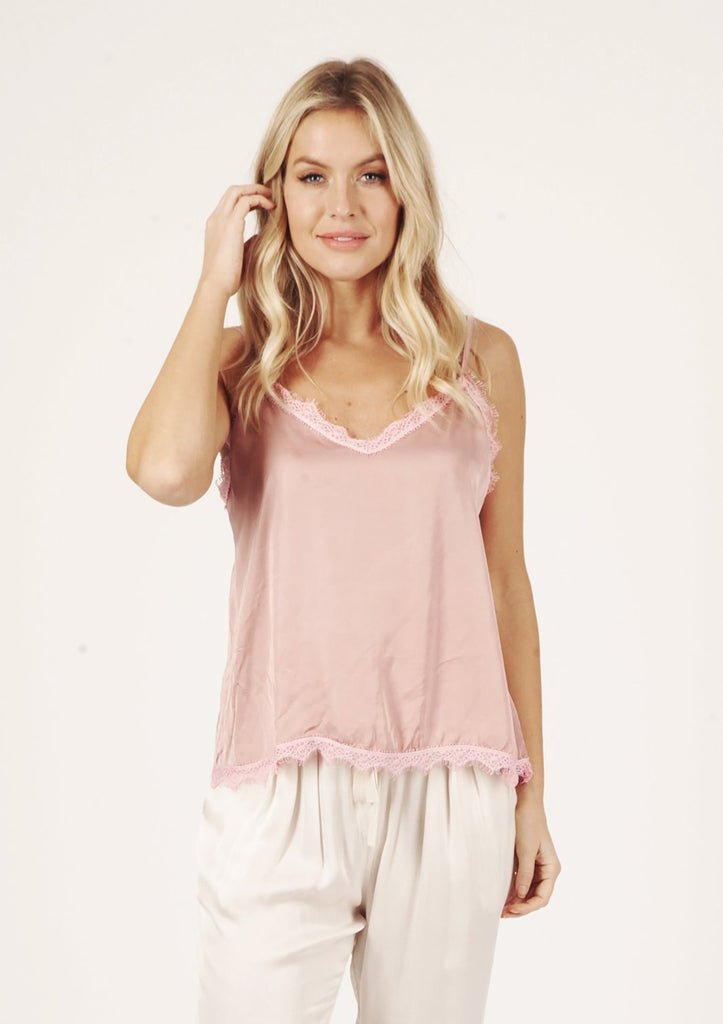 Suzy D Silky Camisole with Lace Trim Pink