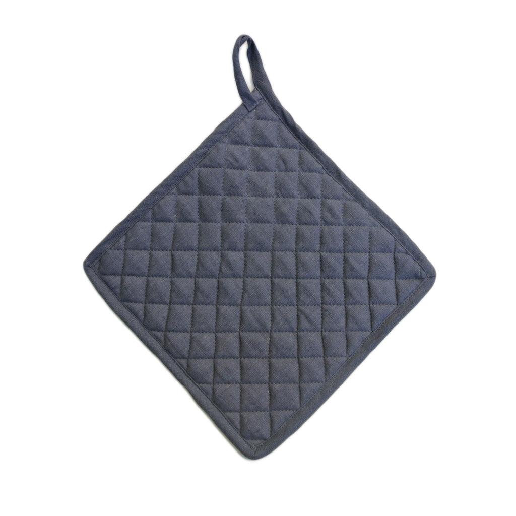 vikolino linen quilted pot holder navy at twang and pearl