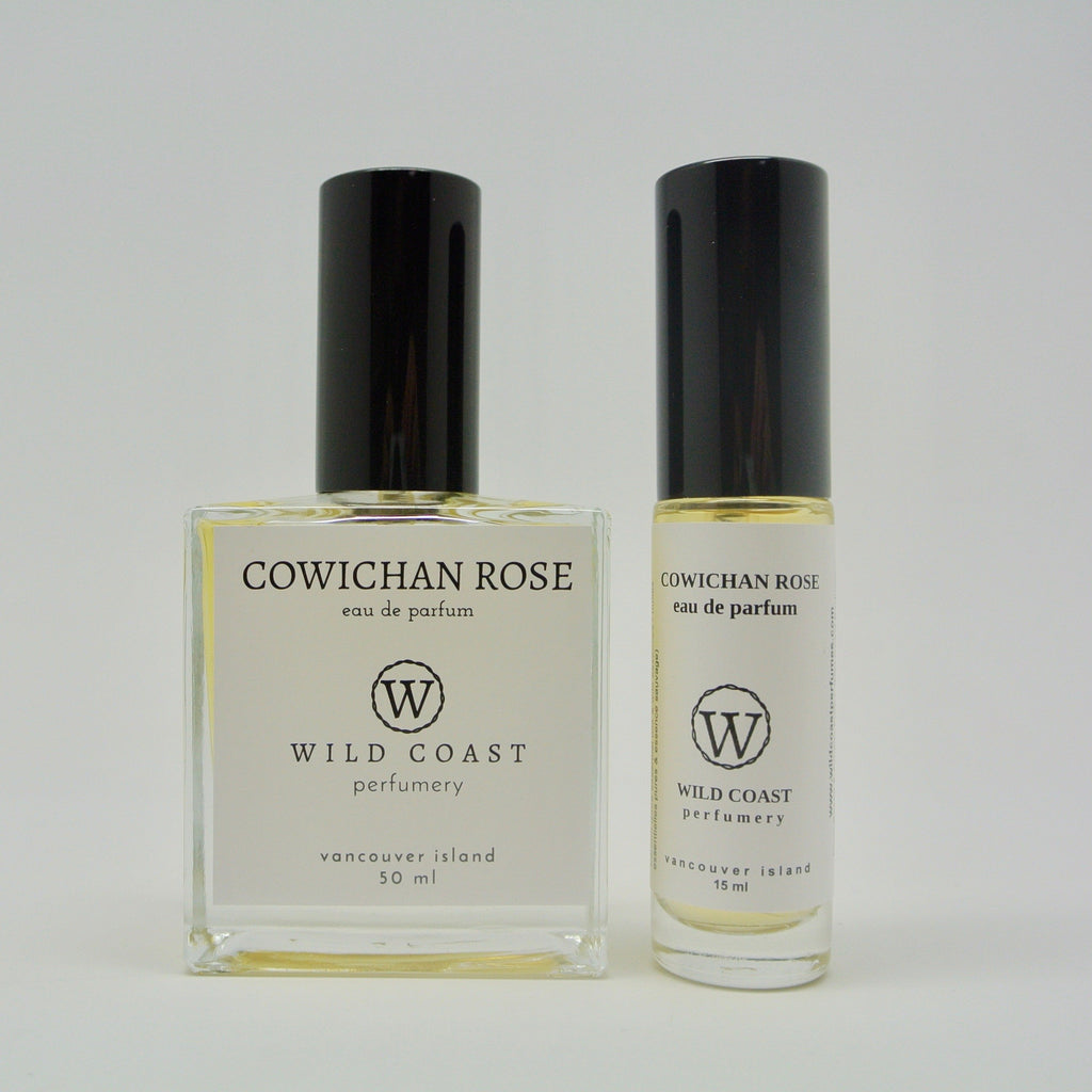 wild coast perfumery eau de parfum 15ml and 50ml cowichan rose at twang and pearl