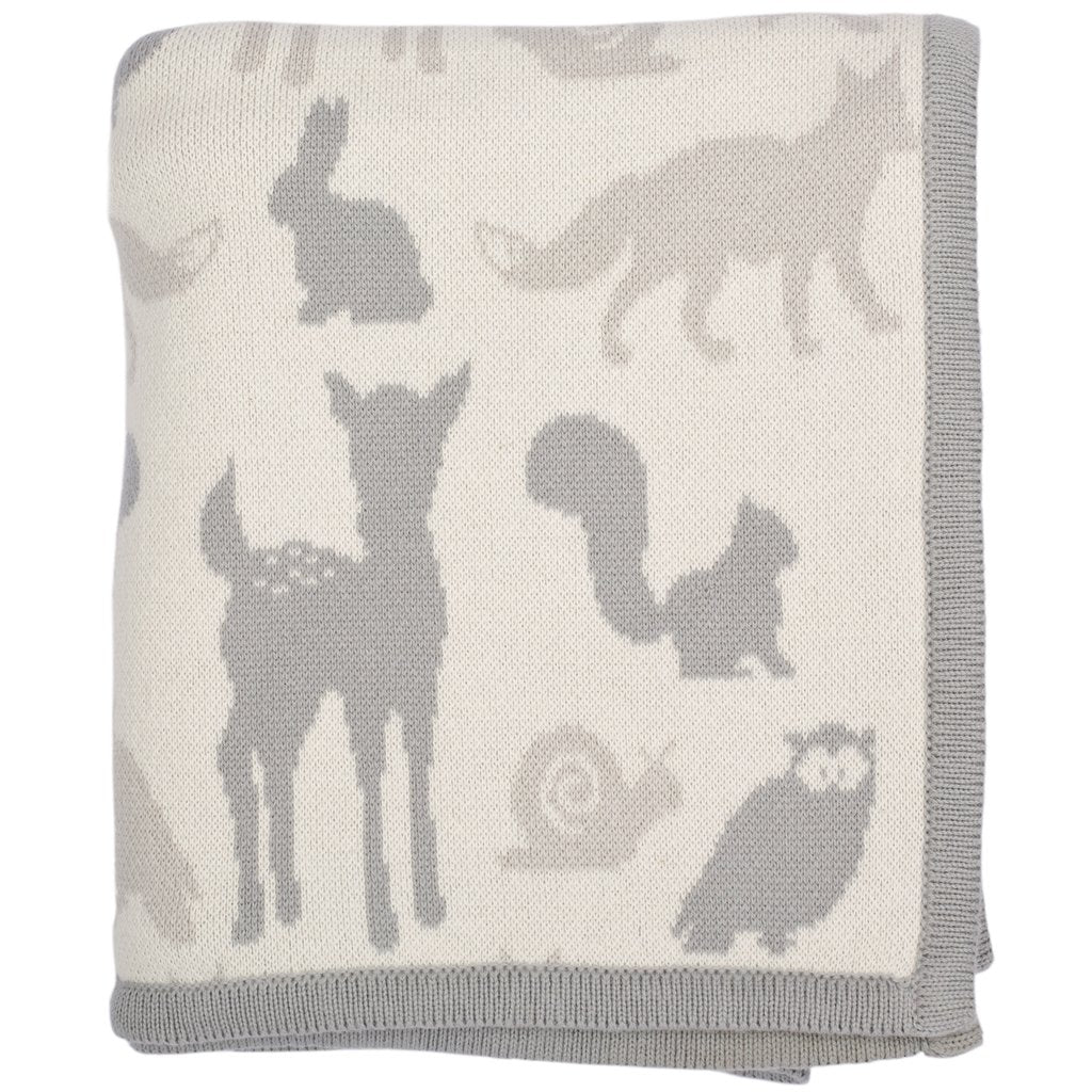 Woodland Animals Combed Cotton Baby Blanket