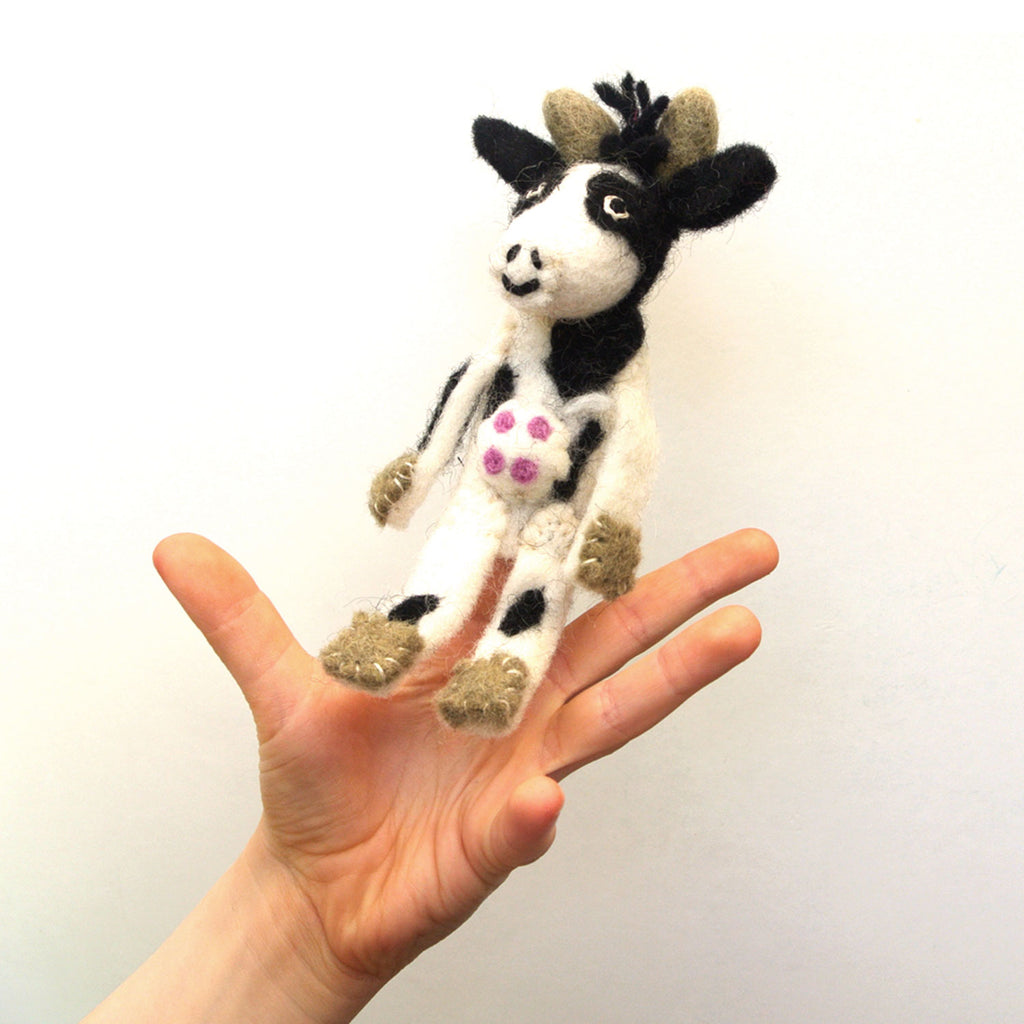 woolie cow finger puppet at twang and pearl