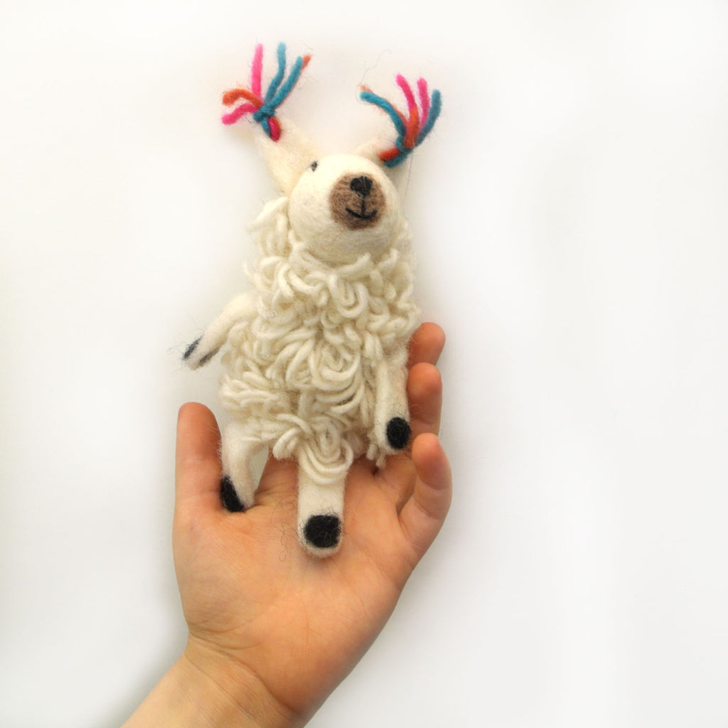 woolie llama finger puppet at twang and pearl