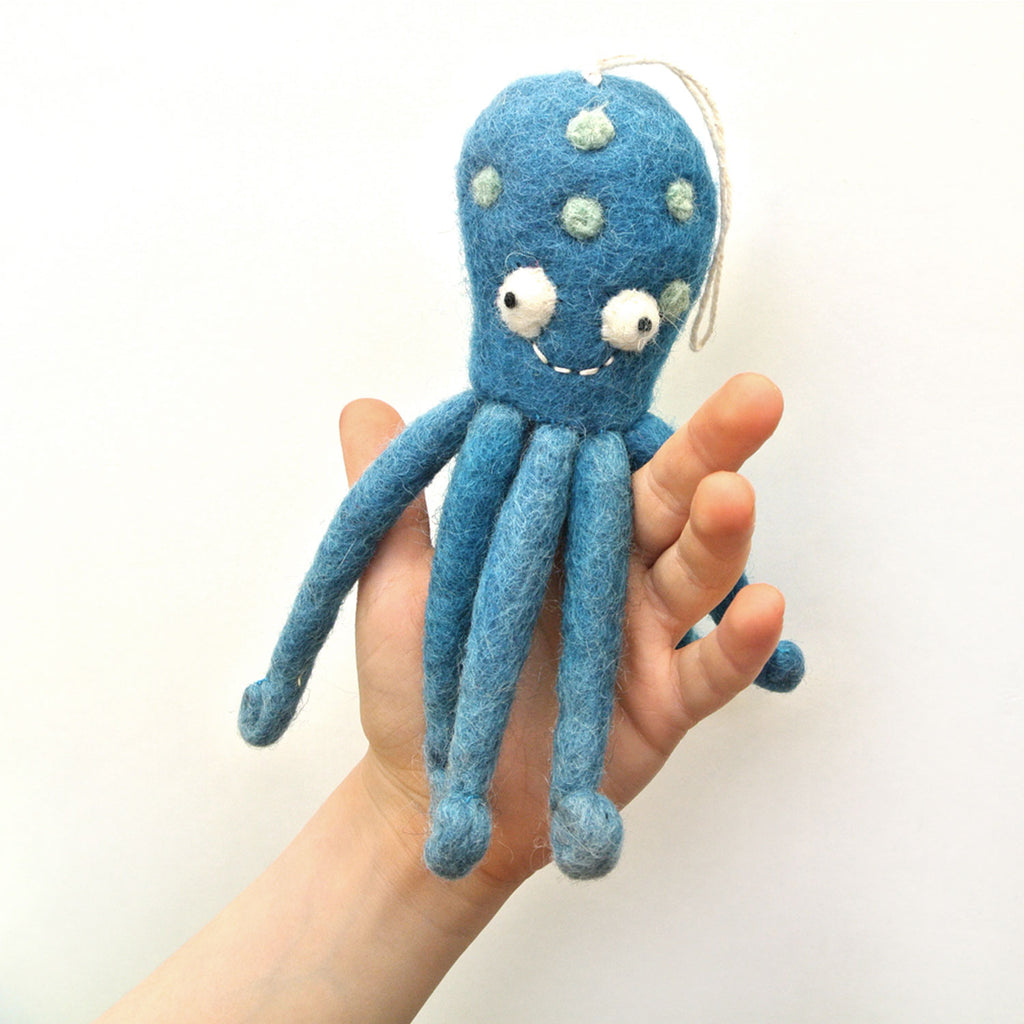 woolie octopus finger puppet at twang and pearl