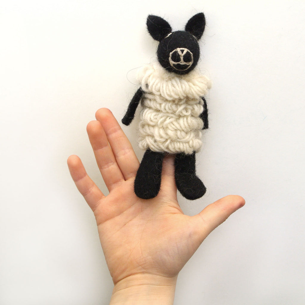 woolie sheep finger puppet at twang and pearl
