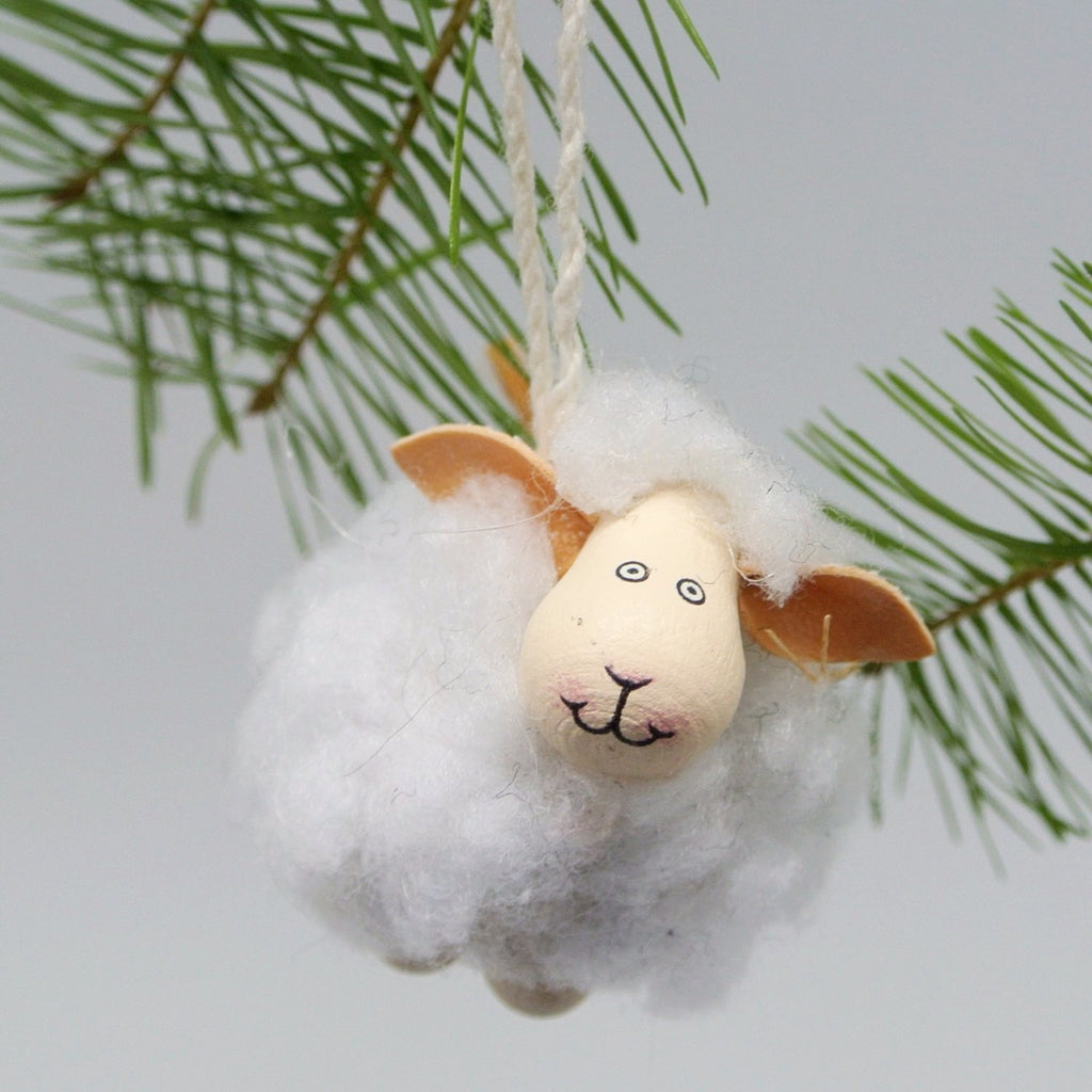 twang and pearl wooly sheep ornament white