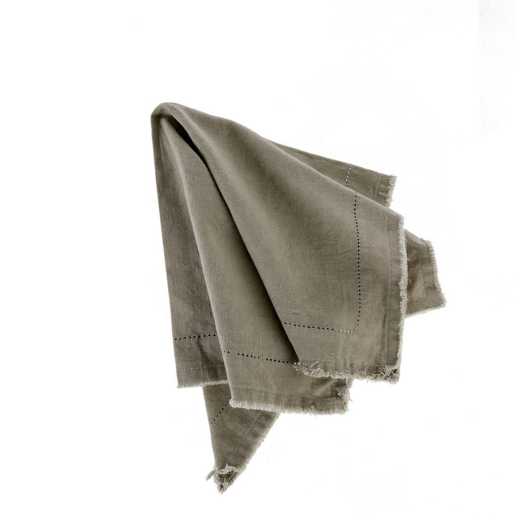 Frayed Edge Cotton Napkin Taupe at Twang and Pearl