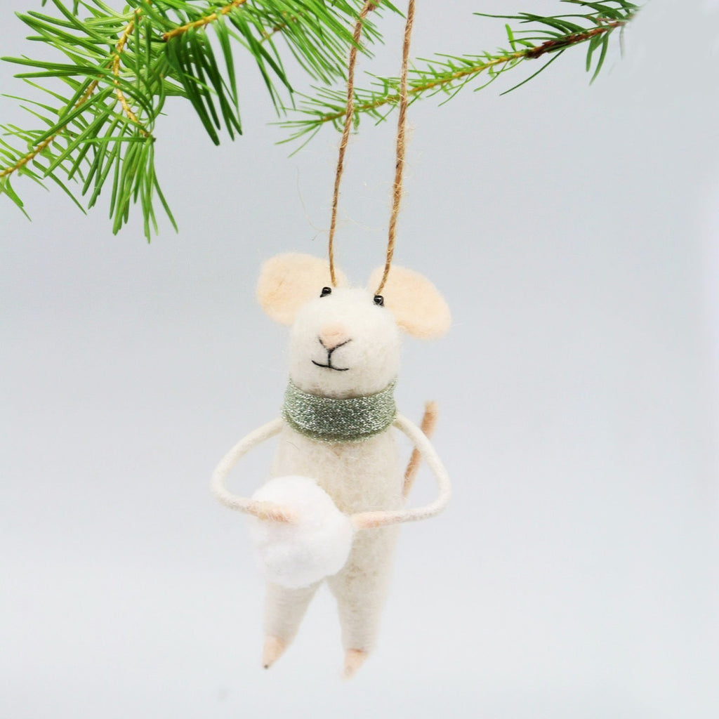 Felted Mouse Ornament - Snowball Sal