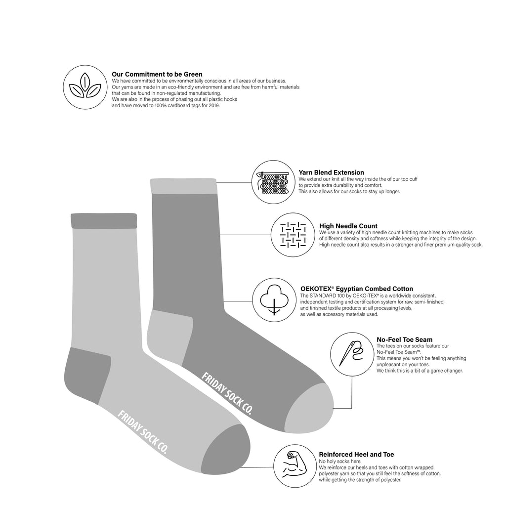 Friday Sock co Womens Sock Diagram at Twang and Pearl