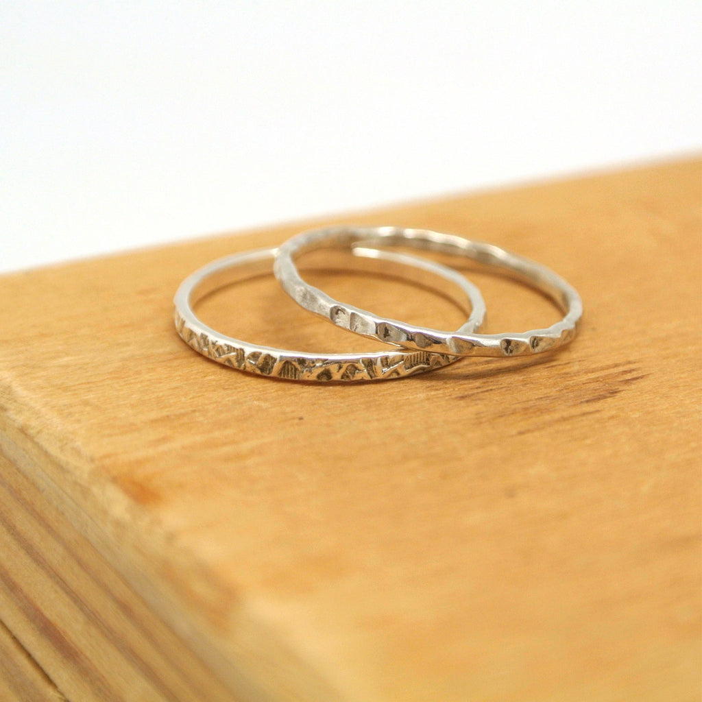 twang and pearl sterling stacking rings