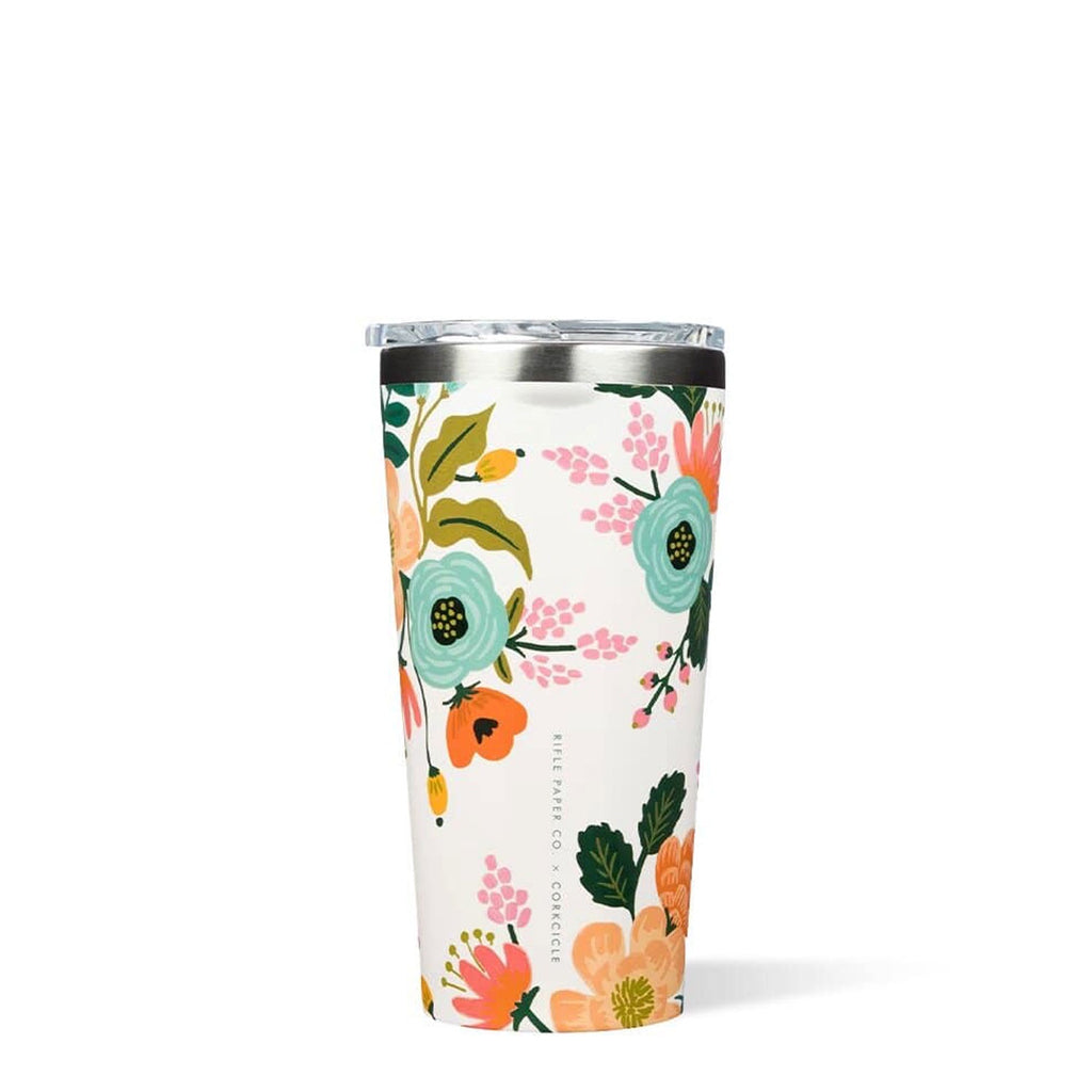 Corkcicle Tumbler 16oz | Rifle Paper Collab Gloss Cream, Insulated Cup