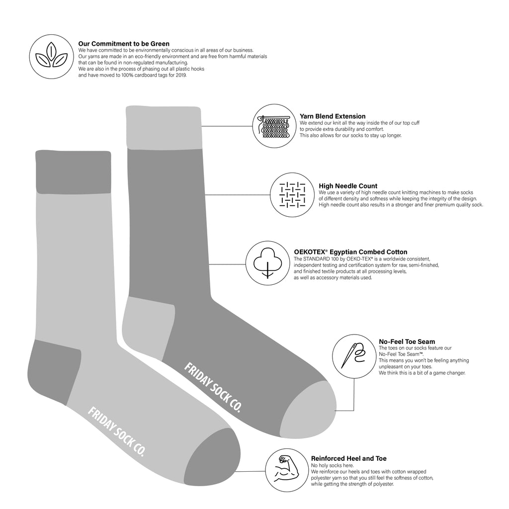 Friday Sock co Mens Sock Diagram at Twang and Pearl