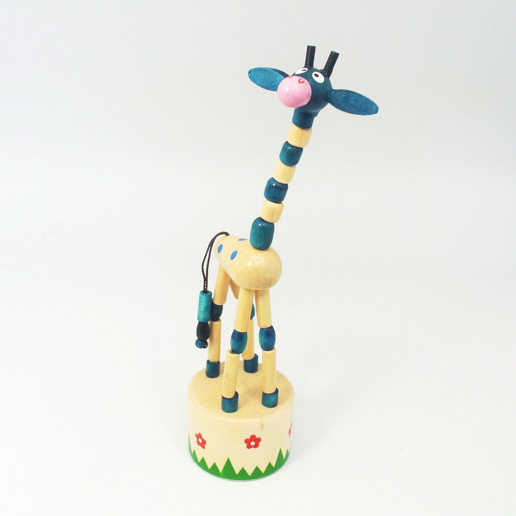 Push Puppet Blue Giraffe at Twang and Pearl